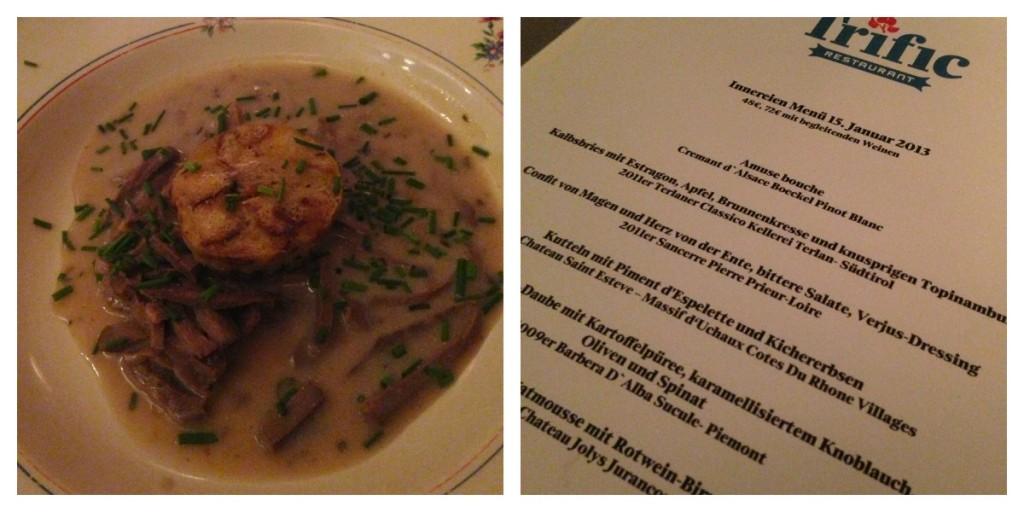 Innnereien-Menü im Restaurant Trific