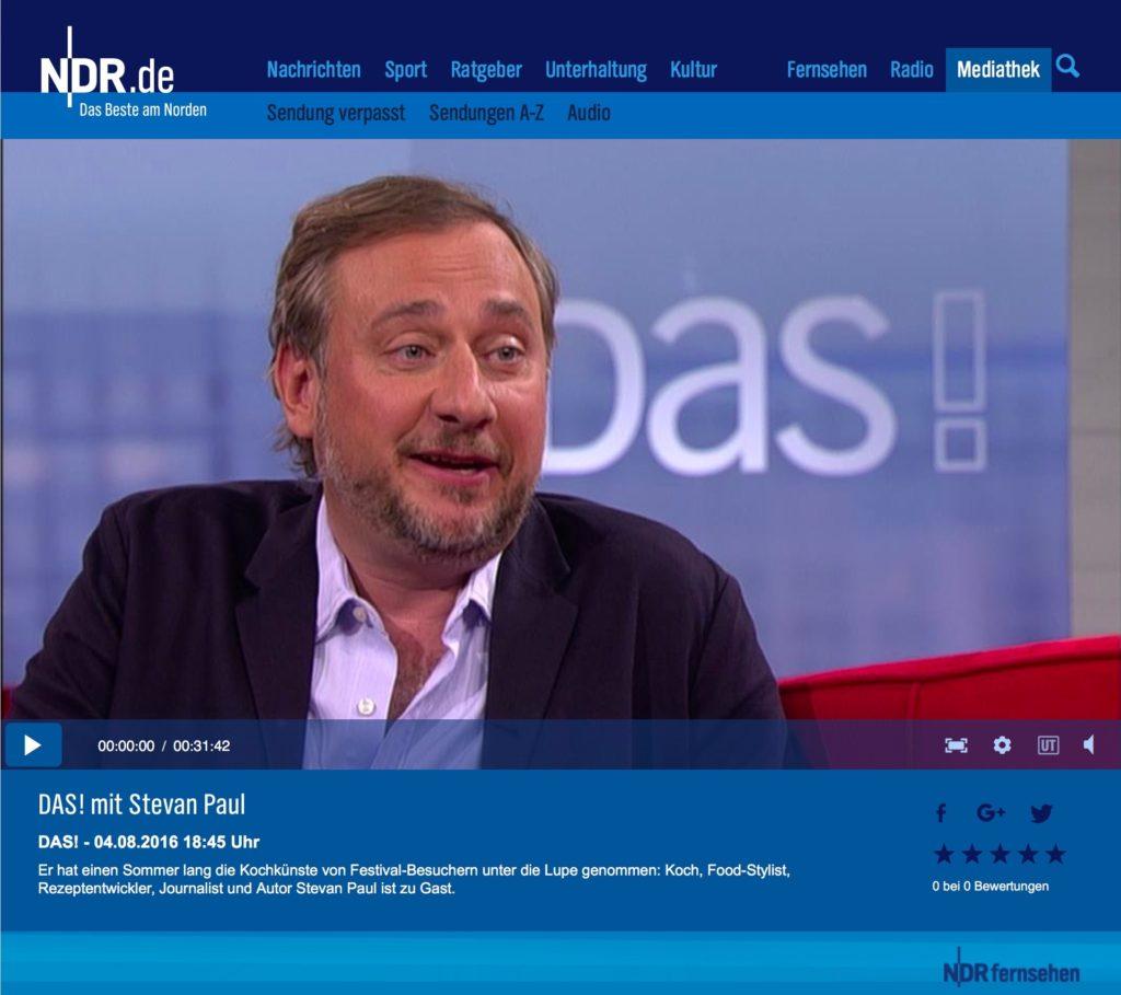 Kulinarischer Talk auf dem Roten Sofa bei Das! im NDR Fernsehen