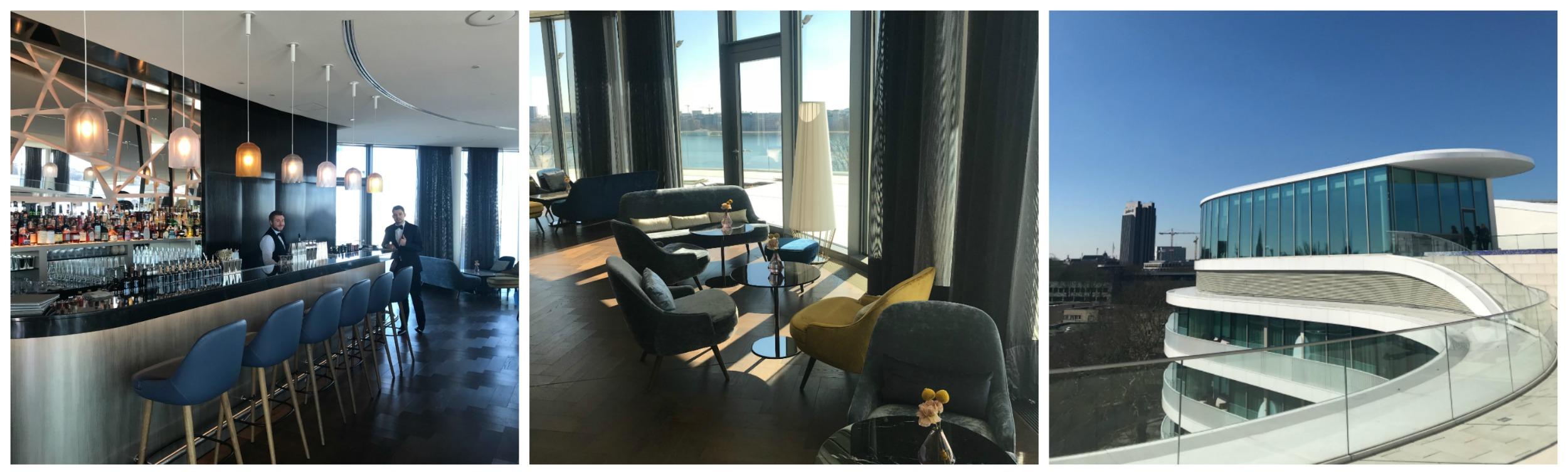 Spektakulär, Die Fontenay Bar Im Siebten Stock, über Dem  Gourmet Restaurant, Mit 320 Grad Alster Rundblick Und Einer 500 M² Großen  Bar Terrasse.